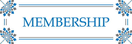 Membership text written over blue grey background.