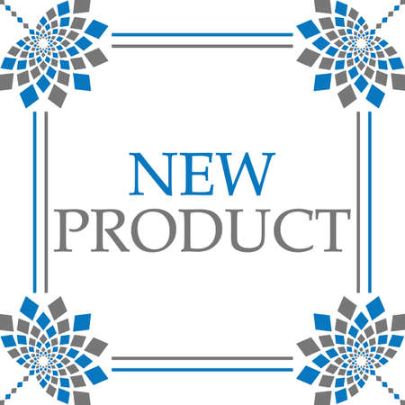 New product text written over blue grey background.