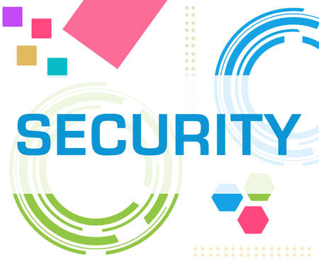 Security text written over colorful background.