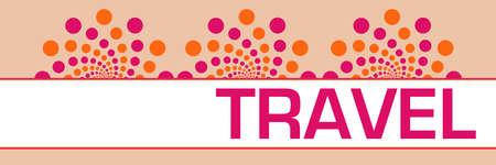 Travel text written over pink orange background.