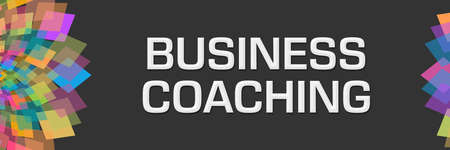 Business coaching text written over dark colorful background.
