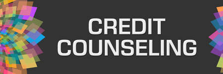 Credit counseling text written over dark colorful background. 免版税图像