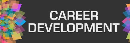 Career development text written over dark colorful background. Stock Photo