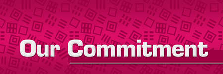 Our commitment text written over pink background.