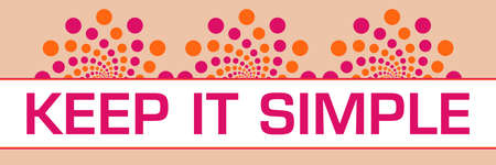Keep it simple text written over pink orange background.