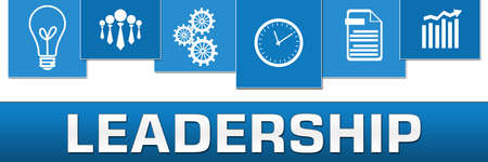 Leadership text written over blue background. Stock Photo