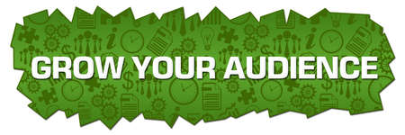 Grow your audience text written over green background. 写真素材