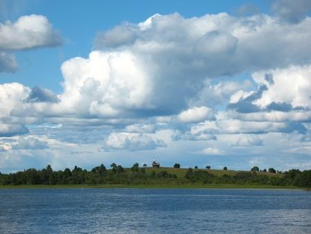 onega: Onega lake. Archipelago of Kizhi. Picturesque landscape. North forest island. Summer. Historical museum ensemble.