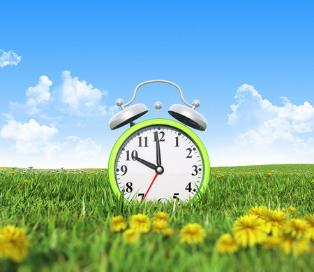 Alarm clock on the green grass field 版權商用圖片