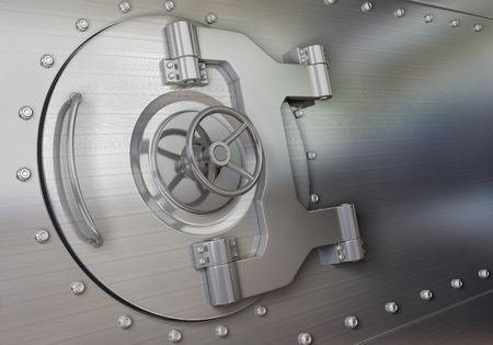 vaulted door: bank vault with door closed Stock Photo
