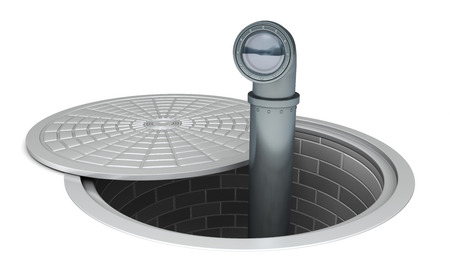big brother spy: Periscope sticking out of a manhole