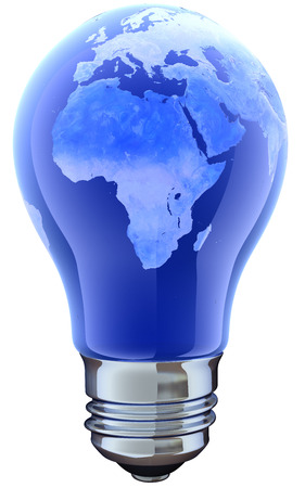 electro world: Light bulb with map.  Stock Photo