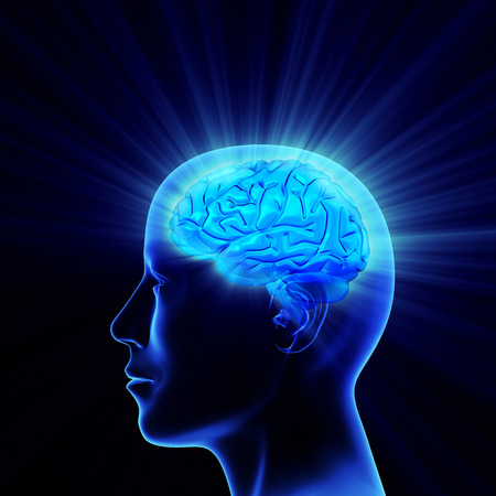 Man head with shining brain Stock Photo