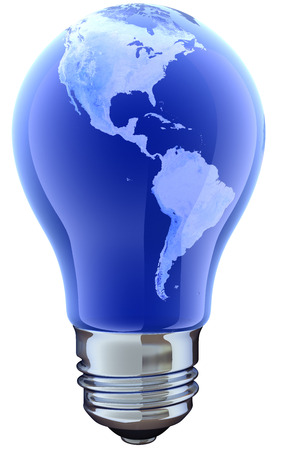 electro world: Light bulb with map. America