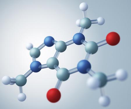 Caffeine molecular model photo
