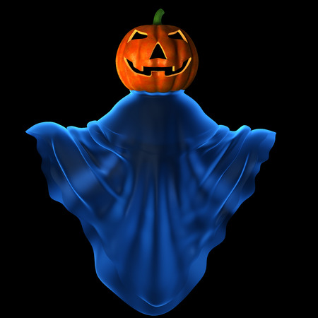 mystique: Carved pumpkin in mystique clothes Stock Photo