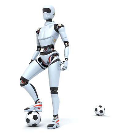 Robot football player Standard-Bild