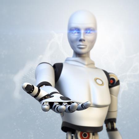 Robot giving his hand 版權商用圖片 - 34284356