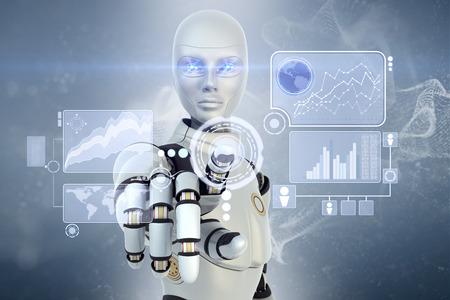 inteligencia: Robot usando un interfaz futurista