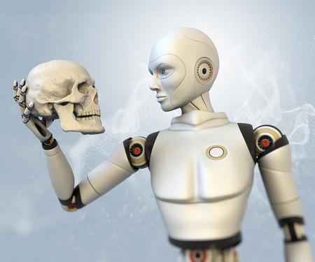Cyborg con el cráneo humano en la mano Foto de archivo - 34284362