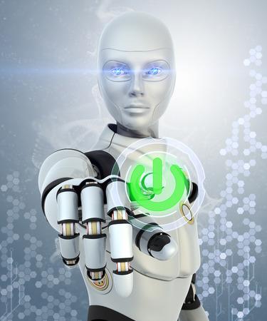inteligencia: Robot presionando el botón de encendido