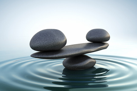 reflection in the water: Zen stones balance