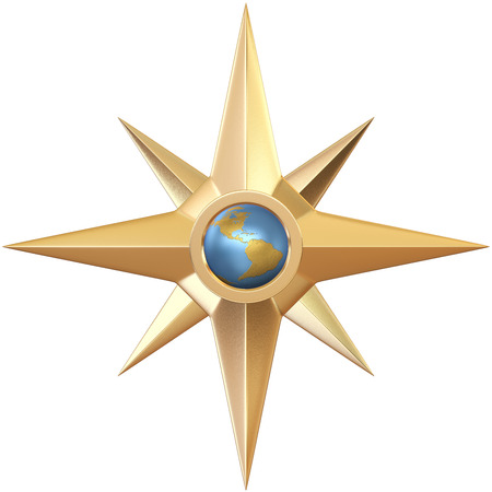 Ancient golden compass with globe in center