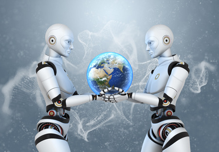 Two cyborgs holding the Earth in their hands 版權商用圖片