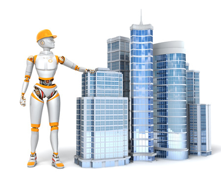 Android and office buildings 版權商用圖片
