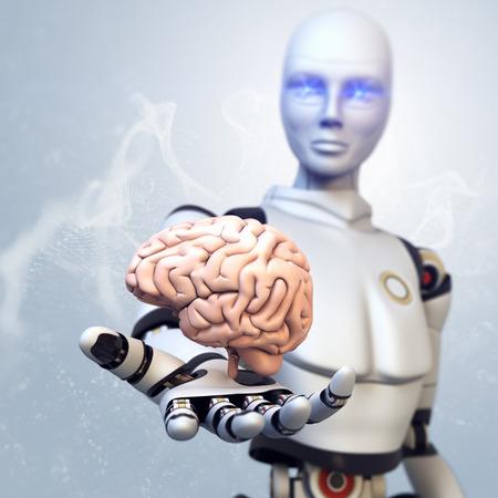 Robot is giving the brain 版權商用圖片 - 34284409