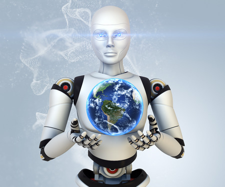 Cyborg is holding Earth in his hands