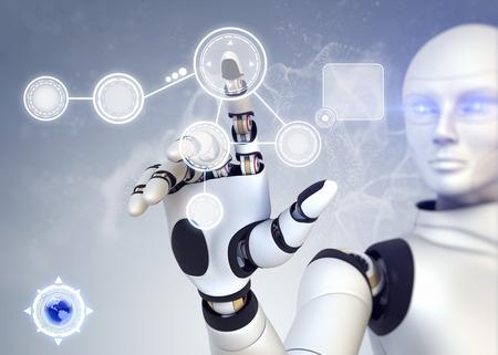 안드로이드는 터치 스크린 기술과 협력 스톡 콘텐츠