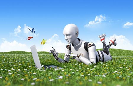 Outdoor internet surfing Stock Photo