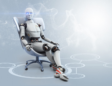 sits on a chair: Android sits in a chair
