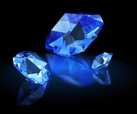 sapphire: Three sapphires. Mazarin facet