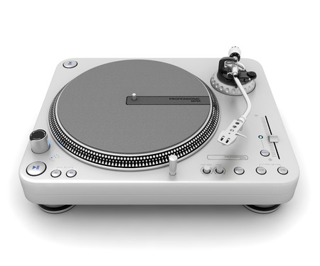 turntables: Turntable isolated on white Stock Photo
