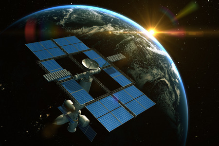 orbiting: Space Station is orbiting around the Earth