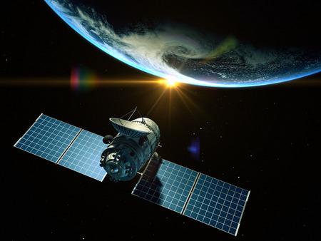 Satellite is orbiting around the Earth