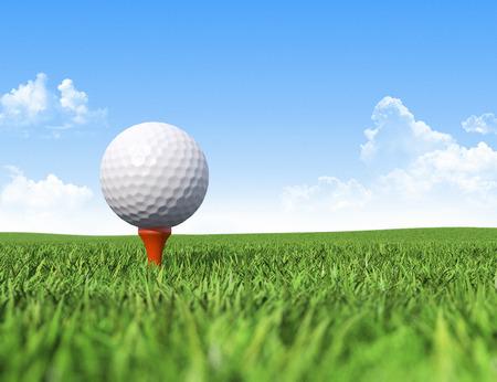 pelota de golf: Pelota de golf en el tee en pasto