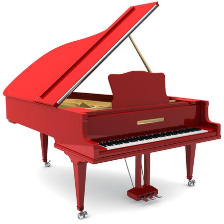 grand piano: Piano de cola roja Foto de archivo