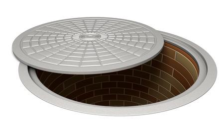 Opened manhole isolated on white. Stock Photo