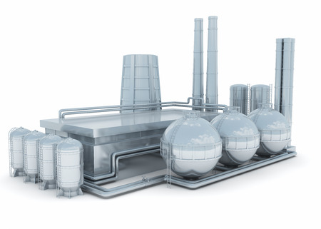 Modern factory isolated on white background. It may be chemical or heavy industry plant or atomic power station