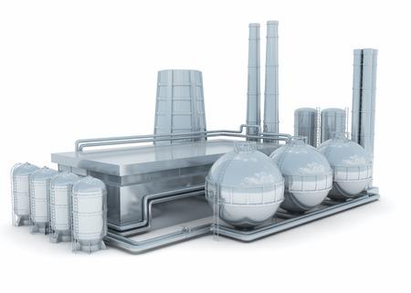 Fábrica moderna aislado sobre fondo blanco. Puede ser químico o planta de la industria pesada o la estación de energía atómica