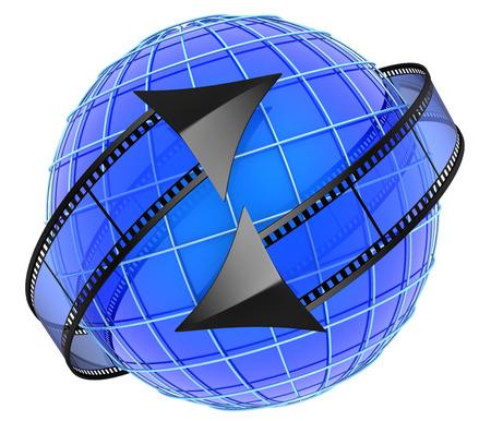 orbiting: Films orbiting around globe Stock Photo