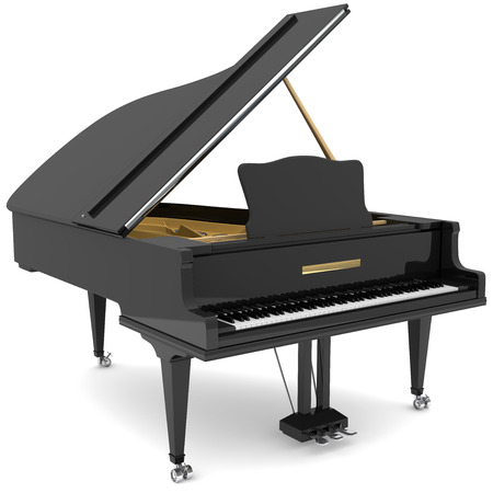 Black grand piano isolated on white 版權商用圖片 - 34150759