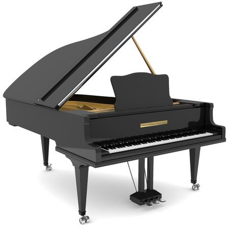 grand piano: Negro piano de cola aislado en blanco