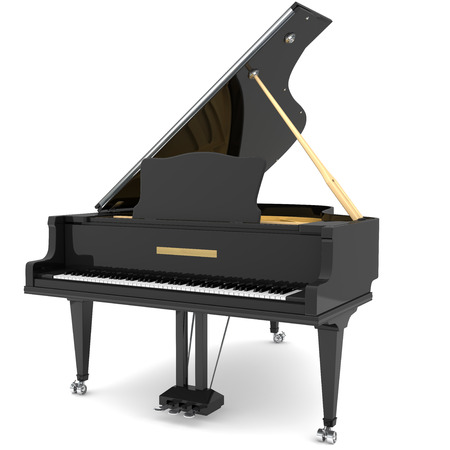 Black grand piano isolated on white