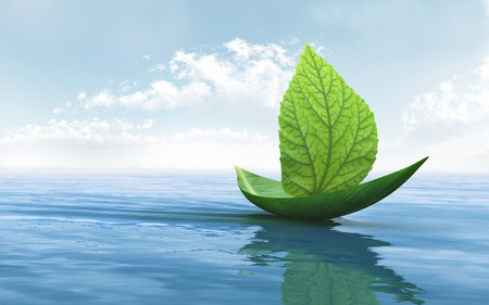 Sailboat made of green leaves is floating on the water Stock Photo