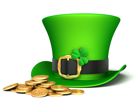 Leprechaun hat and lucky coins photo