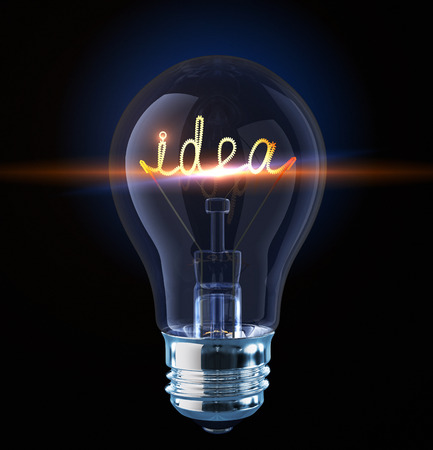 Light bulb with tungsten spiral in form word idea. 3D render photo